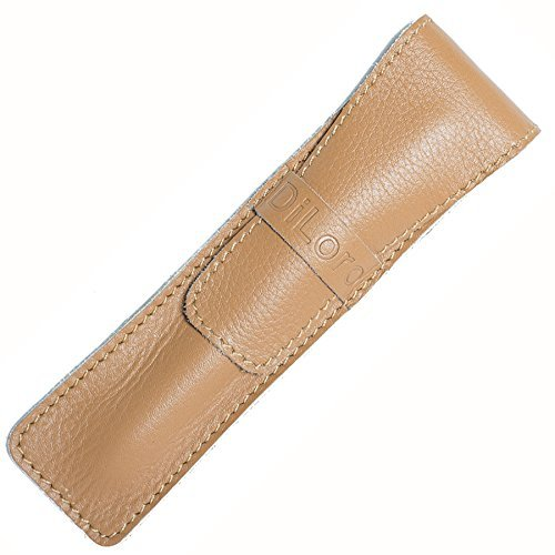tter Soft Cow Top Quality Italian Leather Single Pen Case Holder- Light Tan ()