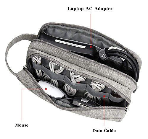 Electronics Accessories Organizer Bag, Double Layer Cable Cord Management Bag, Travel Camping Gear, Small Gadget Pouch for Plugs, Earphone and More(Grey) by YOYL (Image #1)