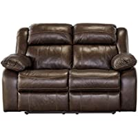 Ashley Furniture Signature Design - Branton Reclining Love Seat - Leather Manual Recliner Sofa - Contemporary Style - Antique Brown
