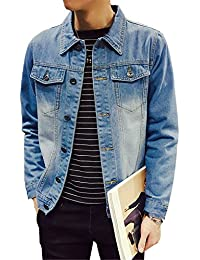 Lacencn Fashion Solid Slim Mens Denim Jacket Plus Size S-4XL 5XL Bomber Cowboy Mens Jean Jacket Hombre