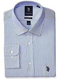 Men's Reguar Fit Striped Semi Spread Collar Dress Shirt