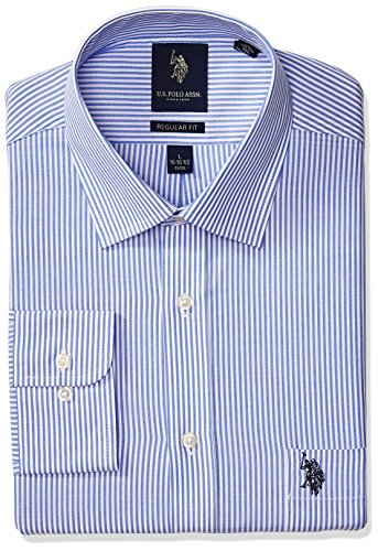 U.S. Polo Assn. Men's Reguar Fit Striped Semi Spread Collar Dress Shirt, Bengal Stripe Light Blue/White, 17