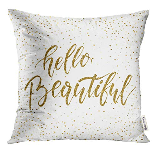 VANMI Throw Pillow Cover Gorgeous Hello Beautiful Freehand Ink Calligraphic Handwritten Calligraphy with Hearts Girl Decorative Pillow Case Home Decor Square 20x20 Inches Pillowcase (Cover Beautiful Girls)