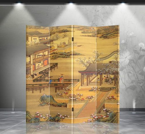 Double Sided Canvas Screen Room Divider - Chinese Garden from Asian Home