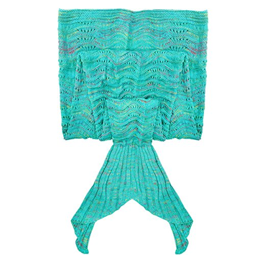 iEFiEL Handcrafted Mermaid Tail Living Room Blanket, Crochet Sleeping Bags for Kids and Adult Mint