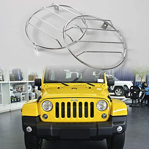 JE-Novia Euro Headlight Cover Guard Lights Protector Lamp Guard for 97-06 Jeep Wrangler TJ & Wrangler Unlimited-Pair(Silver)