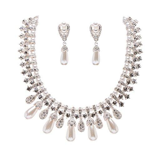 ACCESSORIESFOREVER Women Bridal Wedding Prom Fashion Jewelry Set Crystal Pearl Vintage Teardrop Clip-On
