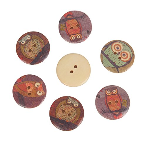 Mahaohao 50pcs Wooden Large Buttons Owl Cartoon Pattern 2-Hole Sewing Christmas Scrapbook DIY