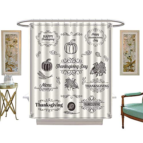 Iuvolux Shower Curtains WaterproofSet of Decorative Elements Dividers Frames Borders Swirls Scrolls Fabric Bathroom Decor Set with Hooks W54 x H72 Inch ()