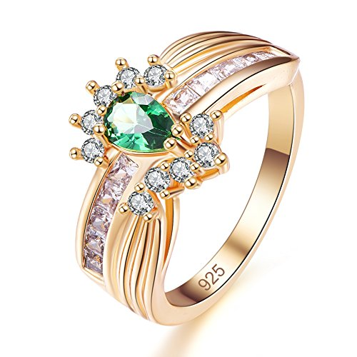 Emsione Created Emerald Quartz 925 Sterling Silver Plated Pear Filled Ring for Women