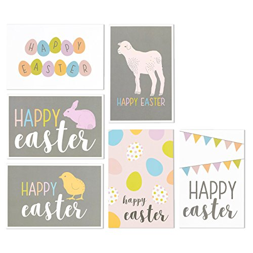36 Pack Happy Easter Blank on The Inside Note Cards for Kids Children - Easter Bunny, Bunnies, Easter Egg, Easter Rabbit Pastel Color Designs - Boxed Greeting Cards Assortment - 4 x 6 Inches