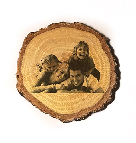 (Customized 3D Laser Engraved Personalized Wooden Rustic Log Custom Magnet with Your Photo)