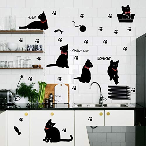 - JFSJDF The Cute Black cat Sitting Room Bedroom Background Kitchen Wall Stickers Foreign Trade Wholesale Waterproof
