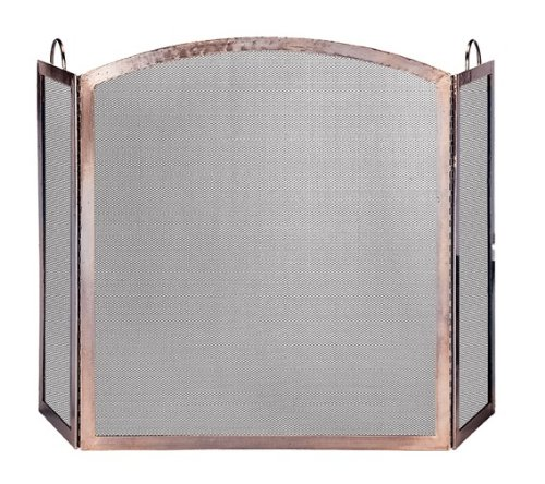 Uniflame, S-1307, 3-Panel Antique Copper Finish Screen with Arched Center Panel
