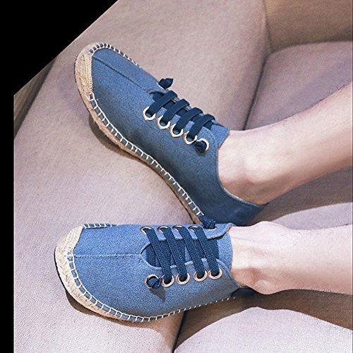 Womens Heren Paar Comfort Ademend Canvas Flats Schoenen Elastische Riem Gom-rubberen Zool Espadrilles Blauw