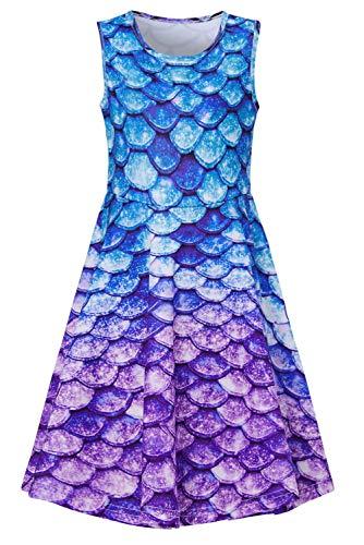 RAISEVERN Little Girl's Mermaid Dress Sleeveless Sundress Cute Round Neck Purple Fish Scale Dresses Summer Holiday Beachwear for Child 6-7T ()