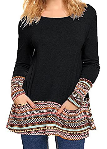 Women's Scoop Neck Graphic Print Long Tunic Top Shirt With Pockets Black XXL - Long Graphic