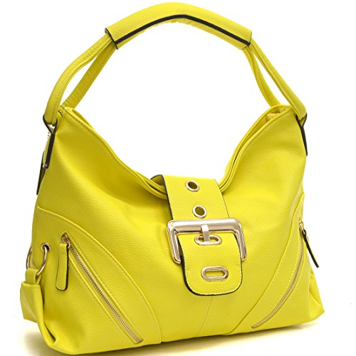 [Dasein 4 Season Classic Large Buckle Hobo Shoulder Bags Handbag Purses with Multi Pockets] (Yellow Purses)
