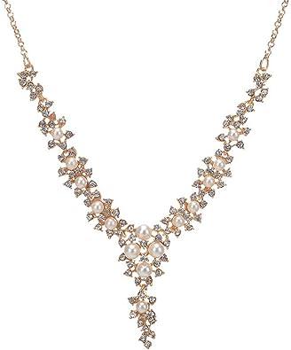 Diamante impresionantes//Collar Gargantilla Collar de Diamante de Imitación Y Perla Con Cuentas De Colección