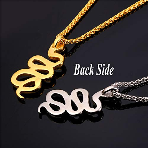 Davitu Collare Snake Pendant 316L Stainless Steel Tribal Serpent Gold Color Reptile Animal Necklace Hip-hop Men Jewelry P982 Metal Color: Gold-Color