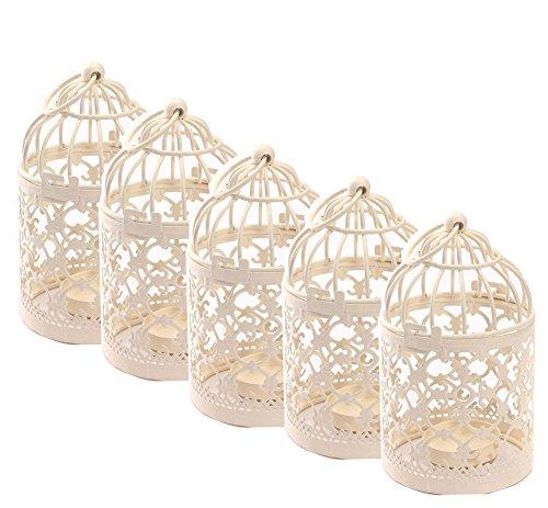 - Qingsun 5Pcs Metal Candle Holder Centerpiece Decorative Hollow out Birdcage Iron LED Hanging Candlestick Lantern