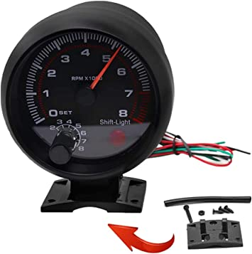 3.75/'/' Universal Car Tachometer Tacho Gauge Meter LED Shift Light 0-8000 RPM New