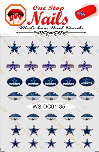 Cowboys vinyl Peel and Stick nail decals. Set of 35 stickers with white background V1. (A22)