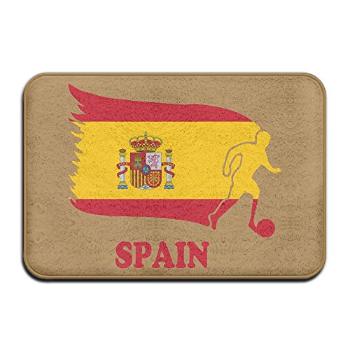 Spain Football Soccer Flag Antiskid Outings Rug Pet Feeding Mat by Mat_Rug&