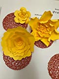 Set of 5 Giant Yellow Paper Flower Backdrop 22 inch to 16 inch - Perfectly Shaped - Curved -Wedding Backdrop - Nursery Room Decor - Archway Decorations - Baby Shower.