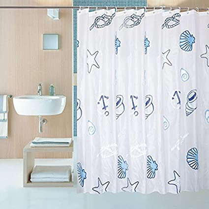 Shower Curtain Liner With 12 Hooks Clear Mildew Resistant Waterproof Plastic