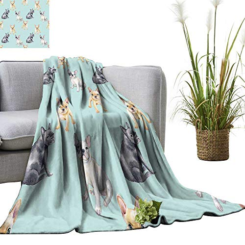 Woolrich Pet - YOYI Home Fashion Blanket French Bulldog pet Puppy backgroun imal Wallpaper Lightweight Blankets for Couch Bed Sofa 30