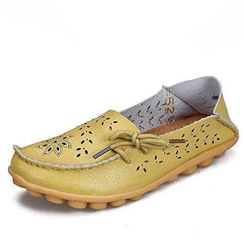 Yixinan Femme Creux Chaussures Casual Pois Pois Conduite Chaussures Confortables Chaussures Plates En Cuir Chaussures À Lacets Vert Pomme
