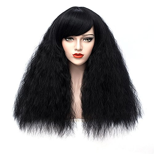 Black Wigs for Women Short Fluffy Curly Wig with Oblique Bangs Heat Friendly Synthetic Hair Wig for Girls Z155C]()