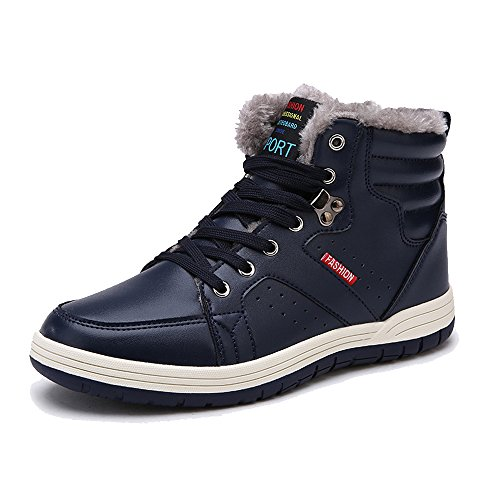 Orlasha Men Winter Snow Boots Casual Shoes High Top Non-Slip Leather Fur Lining Warm Sneaker