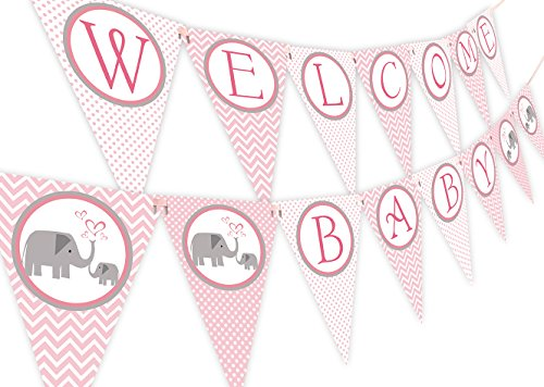 Little Elephant Pink Baby Shower Banner