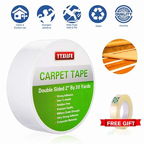YYXLIFE Rug Tape Double Sided Carpet Heavy Duty Tape Carpet Adhesive Rug Gripper Removable Multi-Purpose Tape Cloth For Area Rugs,Outdoor Rugs, Carpets.Tape Carpet Adhesive,2 Inch X 30 Yards,White