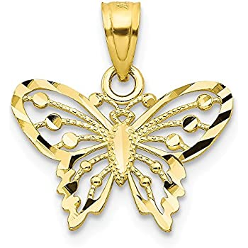 10K Two Tone Gold Butterfly Charm Pendant MSRP $114