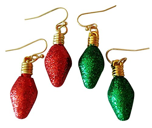 Set of Two Red and Green Christmas Light Bulb Earrings. Fun Drop Dangle Design, Fashion Jewelry.