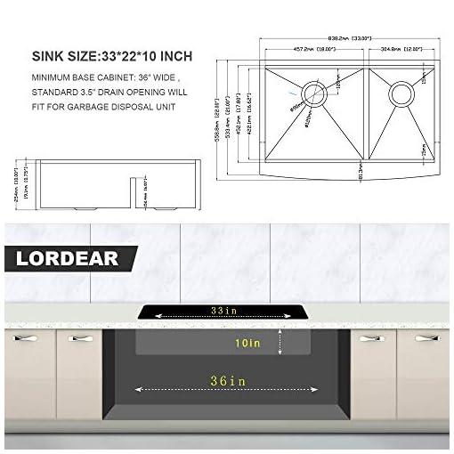 Farmhouse Kitchen 33 Farmhouse Sink Double Bowl – Lordear 33 Inch Kitchen Sink Apron Front Ledge Workstation Low Divide Double Bowl 60/40… farmhouse kitchen sinks