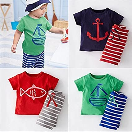 Baby Boys Short Sleeve T-Shirt Stripe Shorts Pants Clothing Set Beachwear Outfit