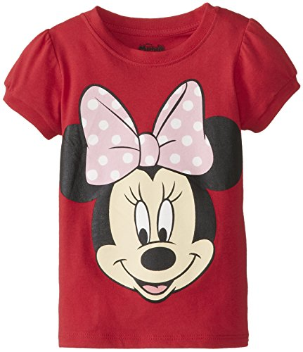 Disney Little Girls' Toddler Minnie Mouse Big Face Girls T-Shirt, Red, 2T