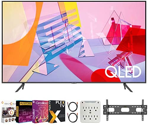 "SAMSUNG QN50Q60TA 50"" Class Q60T QLED 4K UHD HDR Smart TV (2020) Bundle with Premiere Movies Streaming 2020 + 30-70 Inch TV Wall Mount + 6-Outlet Surge Adapter + 2X 6FT 4K HDMI 2.0 Cable"