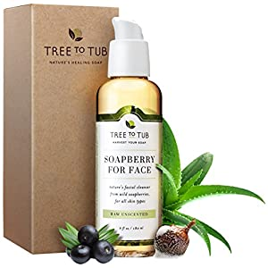 Organic Sensitive Skin Face Wash for Women & Men, pH 5.5—the Only Face Cleanser that Naturally Soothes Eczema, Psoriasis & Rosacea with Gentle Soapberry Lather, Fragrance Free, 6oz—Tree To Tub