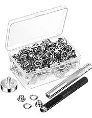 Kuinayouyi 100 Stks Metalen Oogjes Set 7 Mm Grommet Ringen Kit met Montage Punch Rod voor DIY Accessoires Lederen Craft Kleding Reparatie