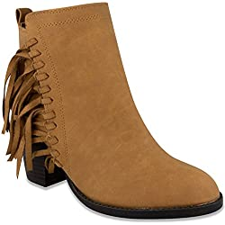 Sugar Womens VINE Bootie Ankle Boot with Fringe 9 Cognac