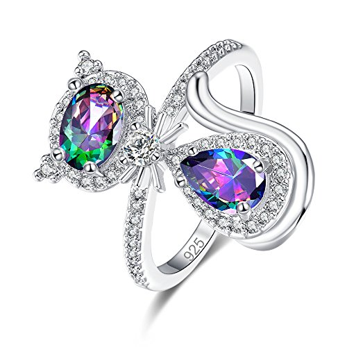 Psiroy 925 Sterling Silver Created Rainbow Topaz Filled Oval Cut Cute Cat Fashion Ring for Women Size 9