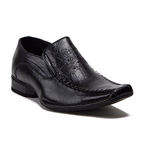 Mens M1527 Carré Orteil Croix Impression Glisser Conception Slip Sur Mocassin Robe Chaussures Noir