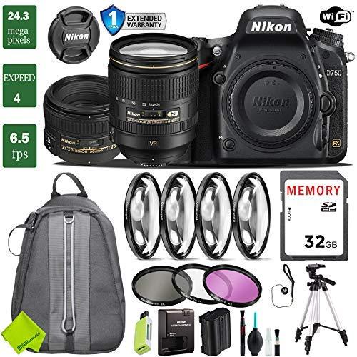 Nikon D750 DSLR Full Frame Camera with 24-120mm VR Lens & Nikon 50mm f/1.4G Lens + 4 Piece Macro Close-Up Set + 3PC Filter Kit (UV FLD CPL) + Tripod + Backpack + 1 Year Extended Warranty (Nikon Cheapest Camera)