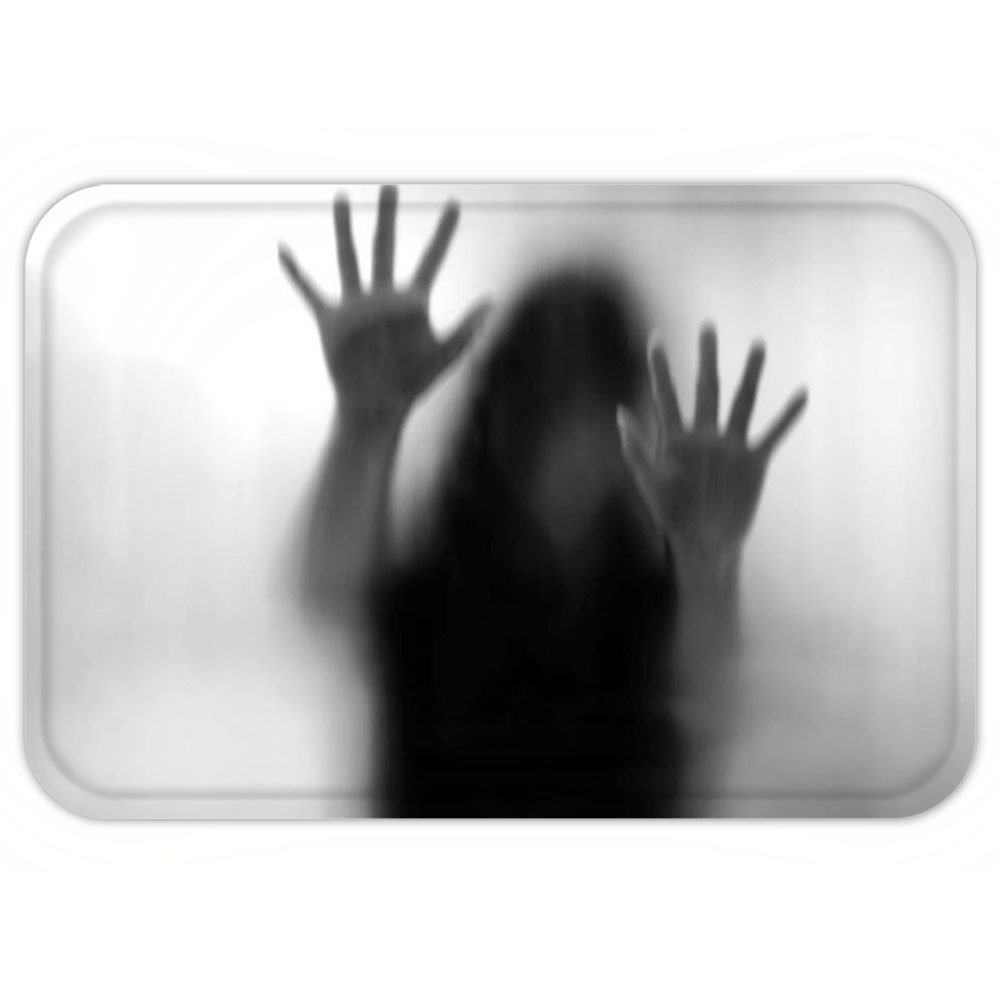 VROSELV Custom Door MatHorror House Decor Silhouette of Woman behind the Veil Scared to Death Obscured Paranormal Photo Gray