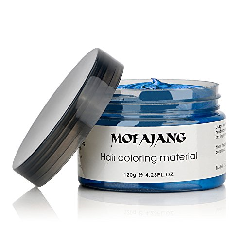 MOFAJANG Hair Color Wax, Instant Blue Hair Color Wax, Temporary Hairstyle Cream 4.23 oz, Hair Pomades, Hairstyle Wax for Men and Women (Blue) by MS.DEAR (Image #3)